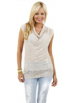 Cowl Neck Sheer Lace Fine Knit Sleeveless Top