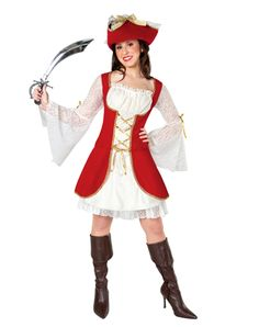Red Pirate Adult Womens Costume