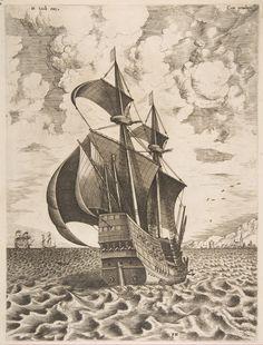 Frans Huys: Kriegsschiff; Kupferstich, um 1555