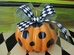 Halloween Polka Dot hand Painted Pumpkin w harlequin bow