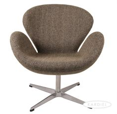 Swan Chair, Oatmeal Houndstooth Twill |