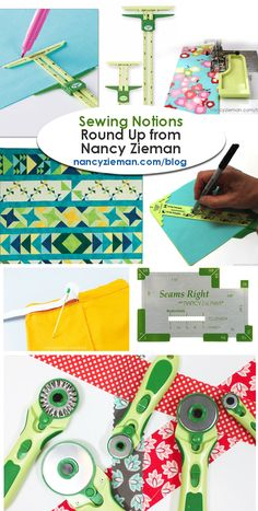 Sewing Notions Tutorial Round-up by Nancy Zieman | Sewing With Nancy | Sliding Gauge Tool, Seam Guide, Half Square Triangle Tool, Bodkin, Elastic Waist Tool, Seams Right Hem Gauge, and Rotary Cutting Tools