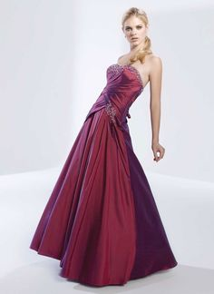 Strapless taffeta home coming dress with dropped waist