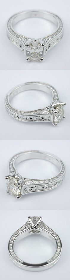 Stunning Antique Floral Solitaire Engagement Ring! Diamond/Gem Cost: $1,485 Oval .94 Ctw. Color: L Clarity: VVS2 Cut: Super Ideal Certification: GIA Setting Cost: $535 Metal: 14K White Gold Total Cost: $2,020 www.brilliance.com