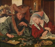 "Marinus van Reymerswaele ""The money changer and his wife"" (1539) Museo Nacional del Prado"