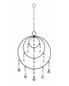 Rustic Metal Frame Wind Chime with Circular Design -  It features artistic metal circles that touch at the same point, with metallic links and bells inside each circle. The rustic conical bells attached to colorful beads have an unmatched aesthetic appeal and give off soft lilting metallic sounds that sound melodious as they float over gentle breeze.