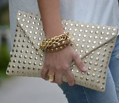 ZARA 2012 WALLET WITH GOLD STUDS BAG CLUTCH STUDDED WHITE SOLD OUT BLOGGERS