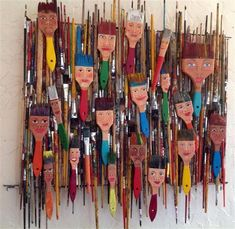 Here is what I made with 4 years of dead paint brushes from school. Each brush h… Here is what I made with 4 years of dead paint brushes from school. Each brush has a hanger so they can be sold individually or as a whole unit. Middle School Art, Art School, School Play, Paint Brush Art, Paint Brushes, Atelier D Art, Collaborative Art, Assemblage Art, Recycled Art