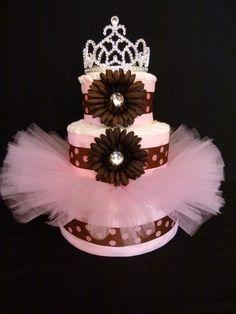 Tutu Diaper Cake-- I AM TOTALLY DOING A DIAPER CAKE LIKE THIS FOR JESS!!! :)