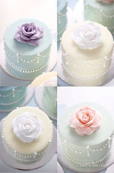 Romantic rose mini cakes. By Bake-a-boo Cakes NZ