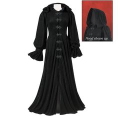 Hooded Velvet Coat - New Age, Spiritual Gifts, Yoga, Wicca, Gothic, Reiki, Celtic, Crystal, Tarot at Pyramid Collection