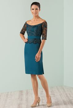 Brides: Jasmine Black Label. Lace and jersey sheath with half-sleeves and an off-the-shoulder neckline.