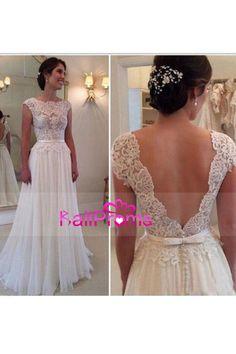 2017 vestidos de boda de la cucharada de la abertura en la espalda de gasa con apliques y faja