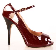 Red Patent Leather Peep Toe Heels.