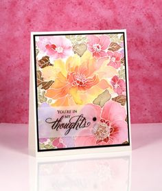 handmade card using Sweet Perfume stamp (Penny Black) by Heather Telford ... embossed lines on water color paper ... four colors of Brusho used for awesome coloring ...
