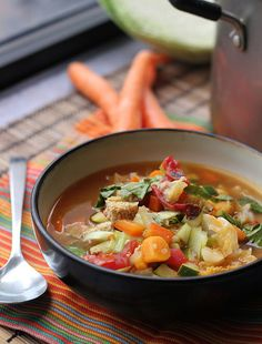 Sweet sour soup 3 tbsp olive oil  1 onion, thinly sliced  1 tbsp grated ginger  1 jalapeno, minced  1 sweet potato, carrots. savoy cabbage,  2 1/2 quarts water or vegetable broth  1/2 cup soy sauce  1/3 cup rice vinegar  2 tsp salt  2 tsp ground black pepper  1/2 cup cold water  1/4 cup cornstarch  1 zucchini, diced  1 red bell pepper, diced  8 oz extra firm tofu cut into 1/2-inch cubes  4 baby bok choy, thinly sliced  14 oz canned diced tomatoes  2 tsp sesame oil