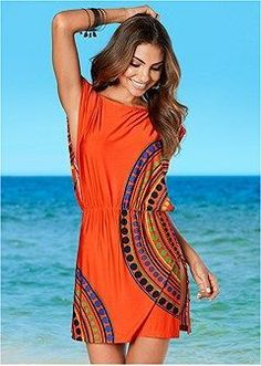 Sexy Blouson Cover-Up Dress in Orange Multi cover-up by VENUS online, for a little extra sun protection. Bandeau Jumpsuit, Strappy Maxi Dress, Maxi Wrap Dress, Bathing Suit Covers, Bathing Suits, Venus Swimwear, Casual Night Out, Mix And Match Bikini, Swimwear Cover Ups