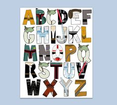 Star Wars Alphabet poster 16x20 and letter pack by RKRcreations