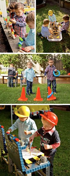 Construction Party Game Ideas - Digging Stations, Hammer Stations and Ring Toss. Simple!