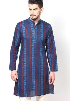 1fa681d3403ee Showcase a graceful ethnic look wearing this navy blue coloured kurta by  Earthy Hues.