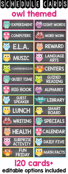 Daily chalkboard schedule cards with time and owl picture for your preschool, prek and kindergarten classroom. This printable display has a blank, editable version as well teachers can use to create their own visual schedule cards for their students. This ideas will help kids develop time concepts and self-regulation in a fun and creative way.