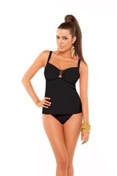 ccad85ef5be1c Aerin Rose Over the Shoulder Tankini Swim Top (227) 34 D DD Black at Amazon  Women s Clothing store  Fashion Tankini Tops