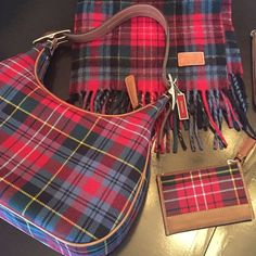 """COACH • 3 Matching Pieces • NWOT AUTHENTIC COACH """"All 3⃣ Matching Pieces"""" Red and Multi Color PLAID • WOOL & LEATHER • Bundle Includes: 1⃣ SHOULDER BAG ( 11.5"""" long x 6"""" high & 15"""" high w/ handle x 3"""" front to back )  2⃣ Long SCARF ( 70"""" x 9"""" )  3⃣ KEY-COIN WALLET ( 4.5"""" x 3"""" ) • PERFECT MINT CONDITION • PLAID COLORS: Red, Blue, Green, Yellow & White & a Caramel Color Leather  ( Scarf alone was originally 225.00 ) Coach Bags"""