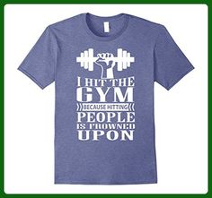 Mens I Hit The Gym Because Hitting People Is Frowned Upon T Shirt Medium Heather Blue - Workout shirts (*Amazon Partner-Link)