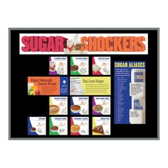 "Two 5-1/2"" x 17"" title header pieces (becomes 5-1/2"" x 34"") and a variety of informative cards included. All pieces laminated for durability. Sized to fit a 3' x 4' bulletin board (not included). Can be easily adapted to fit any size bulletin board. Do you know how much sugar is hiding in your food? Find out with Sugar Shockers® Foods Bulletin Board Kit which features a variety of different foods shown side by side with the equivalent amount of sugar cubes the portion contains. From yogurt… Gourmet Dog Treats, Healthy Dog Treats, Healthy Foods To Eat, How Much Sugar, Frozen Pizza, Classroom Bulletin Boards, Best Homemade Dog Food, Food Shows, Dog Recipes"