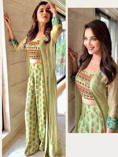 pista green satin banglori printed plazzo suit with jacket Indian Fashion Dresses, Indian Designer Outfits, Designer Dresses, Suit With Jacket, Long Shrug, Western Outfits Women, Shrug For Dresses, Saree Shopping, Shopping Sites