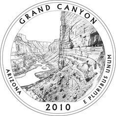 Grand Canyon Inspired Art Project Image II America the beautiful quarters Clipart black and white Grand canyon national park