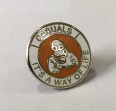 """Casuals """"It's a way of life"""" Tangerine / White 15 mms Push Back Fastener Football Casuals, Badge Design, Badges, Accessories, Ebay, Enamel, Culture, Club, Life"""
