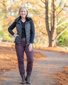 Sweater, pants, boots and puffer vest   For more style inspiration visit 40plusstyle.com