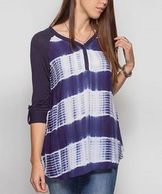 This Navy Tie-Dye Button-Front Top is perfect! #zulilyfinds