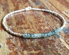 Aquamarijn Sterling zilveren armband armband door BirdieandBirdie
