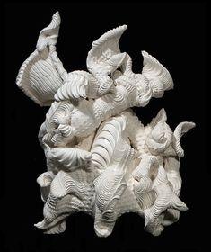 Picture: Charles Birnbaum (USA)  Handbuilds abstract porcelain sculptures  Teaches paper clay (Cotton linter based) sculpting workshops