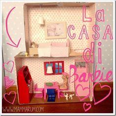 Casa di Barbie fai da te con il cartone