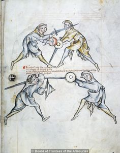 """Techniques from the early manual """"I.33"""". At top, combatant on the left suppresses the opponent using his buckler, making a strike to the head. Below, opposing guards; sword over the left shoulder vs an extended point."""