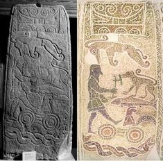 Left: The Golspie Stone Photograph by R. Henery Right: Creative reproduction by Marianna Collessie Ancient Egyptian Art, Ancient Ruins, In Ancient Times, Ancient Artifacts, Ancient Rome, Ancient Greece, European History, American History, Old Norse