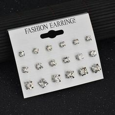 MissCyCy 9 Pairs/Set Mix Design Square Rhinestone Stud Earrings For Women AAA Cubic Zirconia Earrings Fashion Jewelry 2017 New