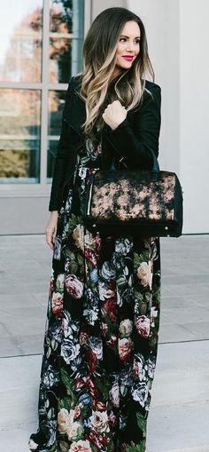 #winter #fashion /  Black Leather Jacket + Flower Print Maxi Dress