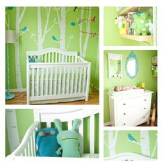 i've seen a lot of tree-type decals on walls, its a pretty cute option to go with that, perhaps less green though ; Baby Bedroom, Baby Boy Rooms, Nursery Room, Kids Bedroom, Nursery Ideas, Room Ideas, Green Rooms, Baby Center, Nursery Design