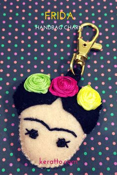 Frida Facedoll in colors lemongreen, hotpink and yellow, handmade in felt. #frida #kahlo #mexican #art #doll #keychain #charm #handbag #keratto #handmade