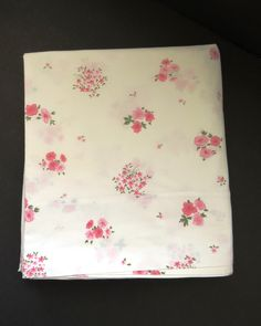 Vintage Pink Floral Full Flat Sheet by Springmaid - Double Flat - Shabby Chic - Country Cottage - Vintage Bedding Sheets - Bedroom Decor by shabbyshopgirls on Etsy