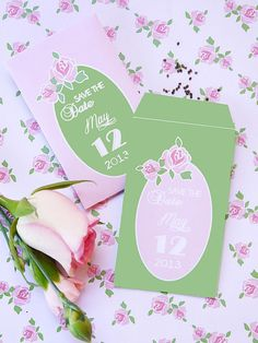 For a clever twist on the floral theme, turn seed packets into your Save the Dates. Simply print these seed packet templates, cut out and fill with your favorite flower seed variety. The best part is that long after the wedding, your guests will have beautiful blooms as a memory of your big day.