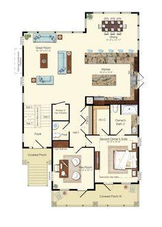 The Antigua Floor Plan - The Peninsula - Schell Brothers Beach House Floor Plans, Coastal House Plans, Narrow Lot House Plans, Family House Plans, Washington Houses, Dream Beach Houses, Flex Room, Home Buying Process, Story House