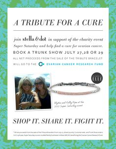 Look good while doing good! Taking pre-orders now! Call/text me at 703-786-1694 to help us raise funds for the Ovarian Cancer Research Fund. http://www.stelladot.com/eryn