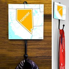 Nevada State Runner Medal Hook - This GoneForaRUN exclusive Wall Medal Display is made from hand-forged steel and features a customized printed tile.  Showcase one special medal, or stack multiple medals on the hook for easy access.