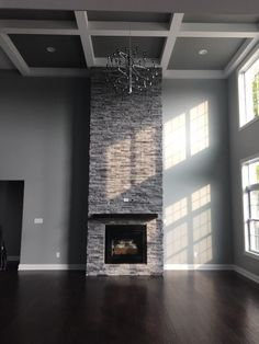 Stone Veneer Fireplace Floor to Ceiling Rocca Stack-Ease J&N Stone Stone Veneer Fireplace, Tall Fireplace, Brick Fireplace Makeover, Home Fireplace, Fireplace Remodel, Fireplace Surrounds, Fireplace Design, Fireplace Ideas, High Ceiling Living Room