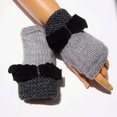Fingerlose Handschuhe, Fingerless stricken Handschuhe mit Bogen, grau stricken Handschuhe, halbe Finger, Bow-Handschuhe, stricken Bogen beherrschen